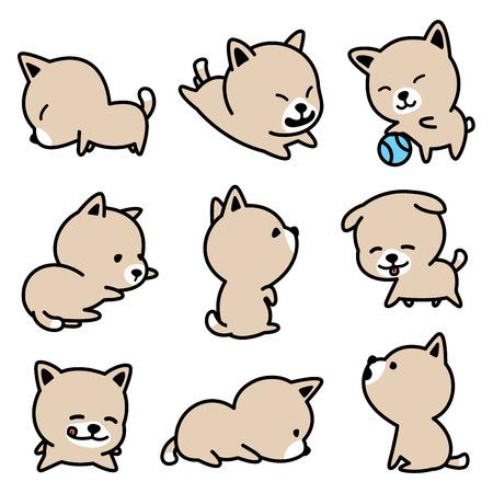 강아지 품종 프랑스 불독 강아지 벡터 일러스트 브라운 세트 스톡 콘텐츠 - 94717436