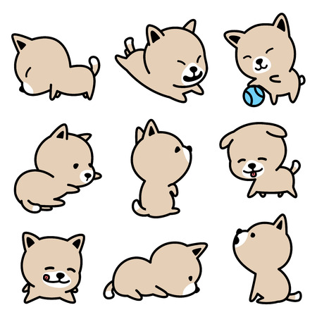 Dog breed french bulldog Puppy vector illustrations brown set