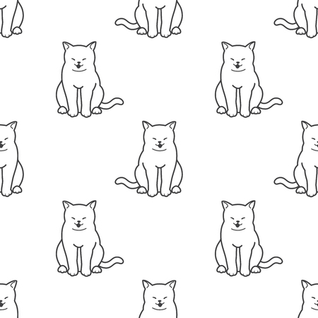 Cat Seamless Pattern vector kitten sitting isolated Doodle wallpaper background
