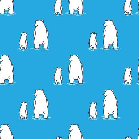 Bear ijsbeer Naadloos Patroon vector papa zoon geïsoleerd behang achtergrond blauw Stock Illustratie
