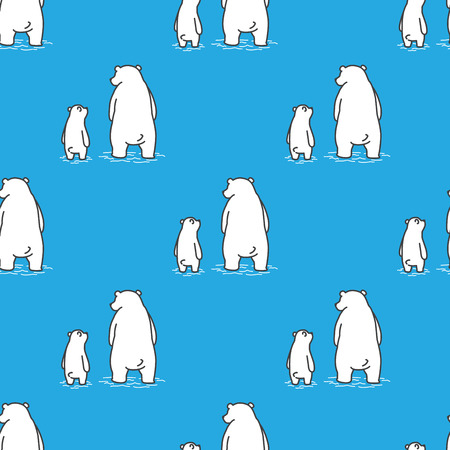 Bear polar bear Seamless Pattern vector dad son isolated wallpaper background blue Illustration