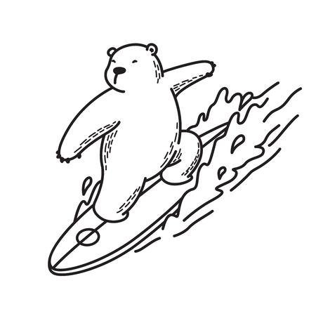 Polar bear surf ocean vector illustration. Character cartoon outline, white.
