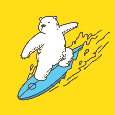 Bär Eisbär Surfen Ozean Vektor-Illustration Charakter Cartoon gelb