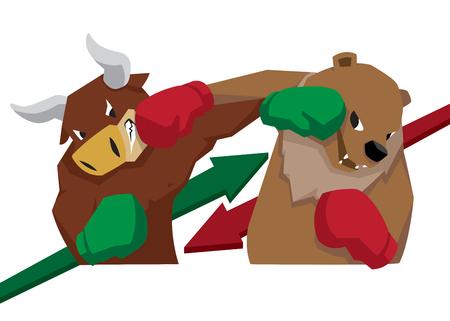 bull vs bear symbol of stock market trend illustration arrow green red Иллюстрация