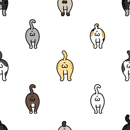 Cat Breed Ball of cat Seamless Pattern vector kitten isolated wallpaper background