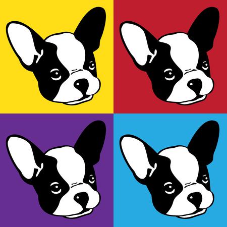 Dog french bulldog face head pop art illustration icon
