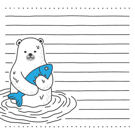 bear polar bear vector catch fish letter paper note illustration character cartoon