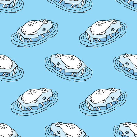Seal Seamless Pattern Vectores