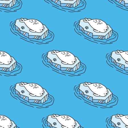 Seal sea lion Seamless Pattern