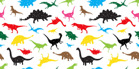 Seamless Pattern dino dinosaur vector isolated wallpaper background colorful
