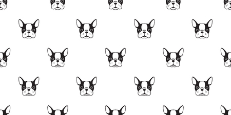 Dog Seamless Pattern french bulldog face head vector isolated wallpaper background