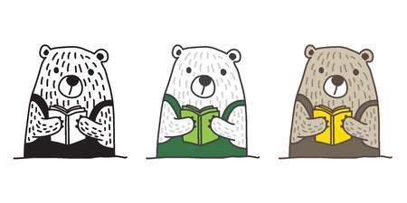 bear vector polar bear icon read book illustration doodle character cartoon