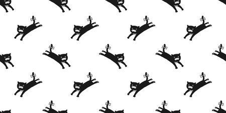 cat seamless pattern kitten jump vector isolated wallpaper background