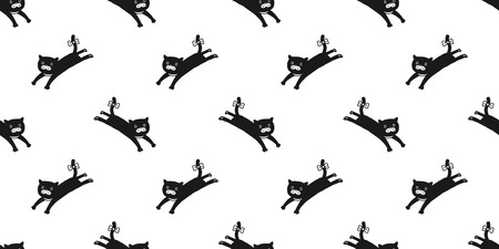 cat seamless pattern kitten jump vector isolated wallpaper background