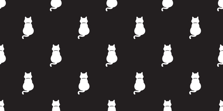 seamless pattern white cat kitten vector icon isolated wallpaper background