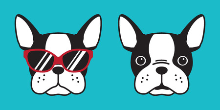 dog vector dog breed french bulldog sunglasses logo icon illustration character cartoon doodle Ilustracja