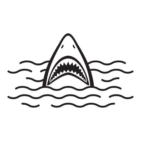 Shark icon vector logo mouth Ocean Sea dolphin whale illustration cartoon