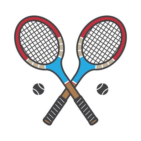 Tennis racket badminton vector logo icon illustration vintage Sports colorful