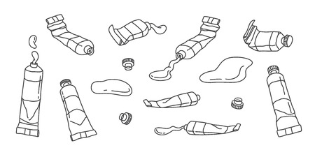 Ilustración de doodle de vector acrílico de color de agua