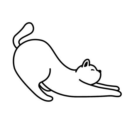Cat kitten neko Vector sleep doodle icon illustration cartoon character