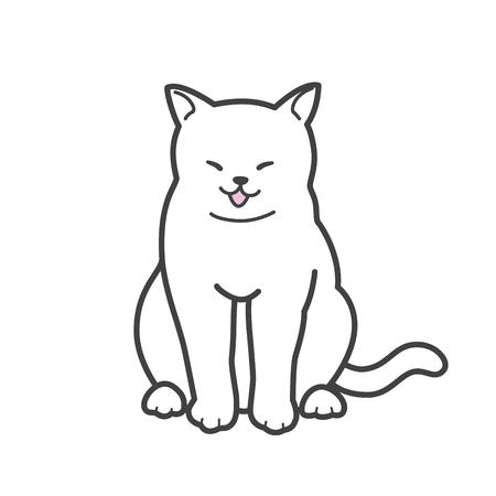 Cat kitten Vector neko smile doodle icon illustration cartoon character