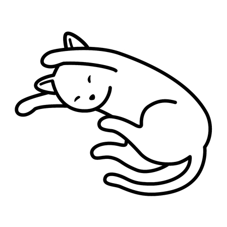 Katze Vektor Kätzchen Neko Schlaf Gekritzel Symbol Illustration Cartoon-Figur