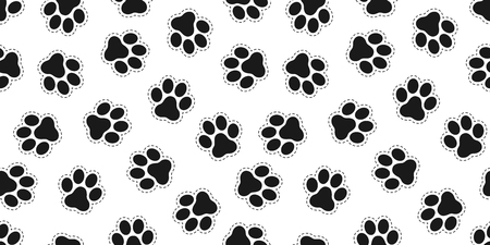 Dog Paw Cat Paw Seamless Pattern Bear vector isolated wallpaper background