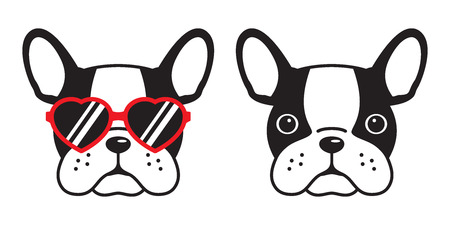 dog French bulldog vector icon red sunglasses heart illustration character cartoon