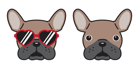 dog French bulldog vector icon sunglasses heart illustration character cartoon brown Stock Illustratie