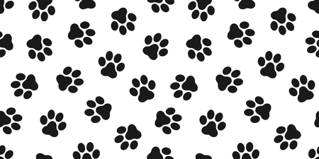 paw seamless pattern dog paw cat paw bulldog vector wallpaper isolated background 矢量图像