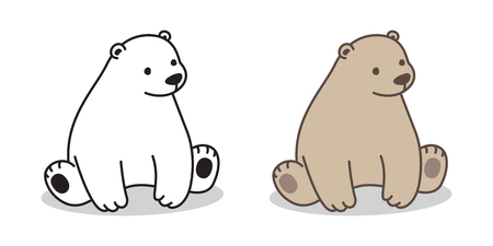 bear vector Polar bear logo icon sitting illustration character cartoon Çizim
