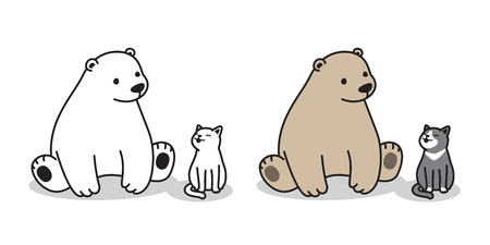 bear vector Polar bear logo icon sitting cat illustration character cartoon