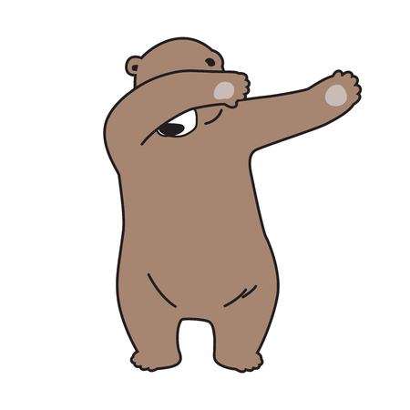 bear vector Polar bear logo icon dab dance illustration character cartoon