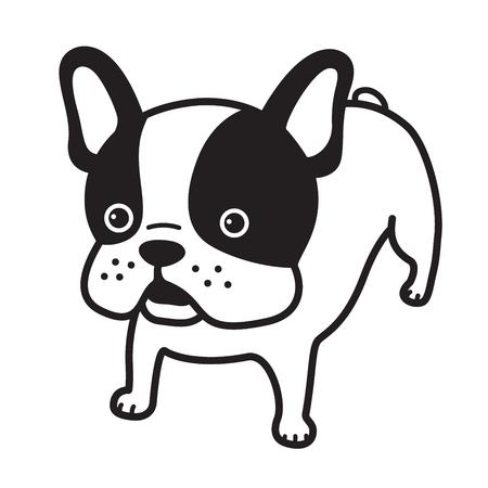 cane vettore bulldog francese icona illustrazione personaggio dei cartoni animati bianco