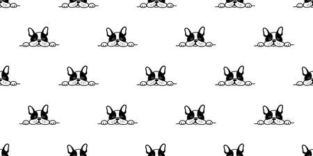 cane senza soluzione di continuità bulldog francese modello vettoriale faccia assonnato isolato sfondo sfondo Vettoriali