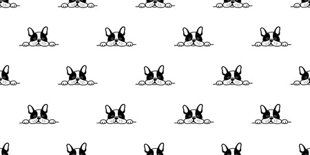 perro, seamless, francés, bulldog, vector, patrón, cara, sueño, aislado, papel pintado, plano de fondo Ilustración de vector