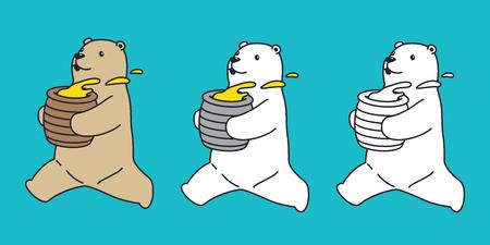 Vector de oso oso polar icono teddy ejecutar miel personaje dibujos animados doodle ilustración