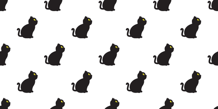 cat seamless vector kitten Halloween pattern icon isolated wallpaper background red
