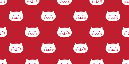 cat seamless pattern kitten head vector icon isolated wallpaper background red