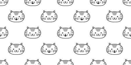cat seamless pattern kitten vector head icon isolated wallpaper background Ilustração