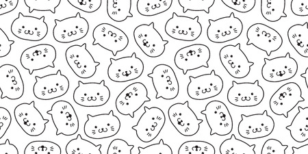cat seamless pattern kitten head vector icon isolated background wallpaper
