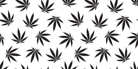 Weed seamless pattern Marijuana isolated cannabis leaf backgeound wallpaper Illustration