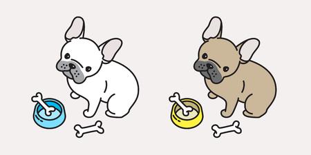 Französische Bulldogge Mops Cartoon Charakter Gekritzel Symbol Vektorgrafik