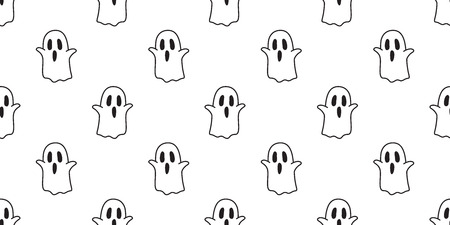 Halloween seamless pattern Ghost vector isolated spooky cartoon wallpaper background white