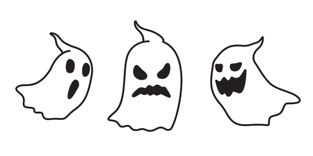 Ghost vector icon Halloween spooky doodle cartoon illustration character