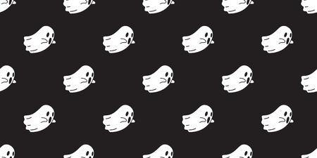 Ghost seamless pattern vector Halloween isolated spooky pumpkin cartoon wallpaper background black