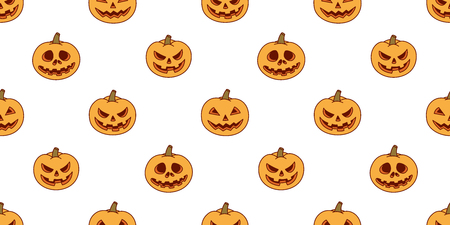 pumpkin vector seamless pattern Halloween isolated ghost doodle wallpaper background Illustration