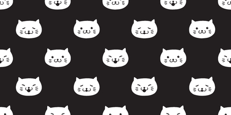 cat seamless pattern vector kitten head icon isolated wallpaper background cute black