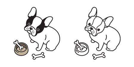 Hund Vektor Französisch Bulldogge sitzen Knochen Schüssel Illustration Charakter Cartoon Gekritzel