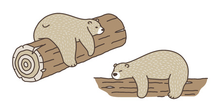 Bear vector Polar Bear sleep on the log doodle illustration character cartoon
